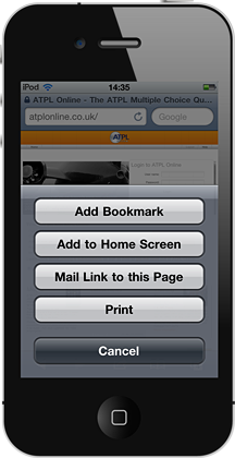 ATPL Online on the iPhone - add to home screen